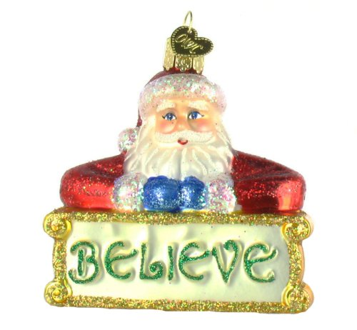 Old World Christmas Believe Santa Glass Ornament