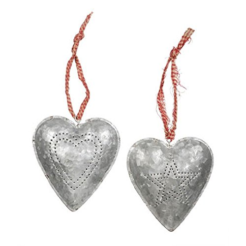 Christmas Decoration Metal Tin Heart Ornament – Set of 2 – Heart and Star Pattern