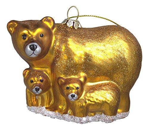 Christmas Lodge Bear Glass Ornament