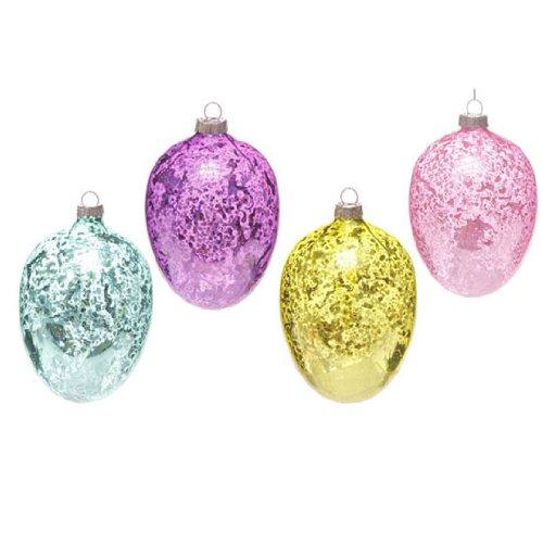 RAZ Imports – 4.5″ Mercury Glass Easter Egg Ornaments