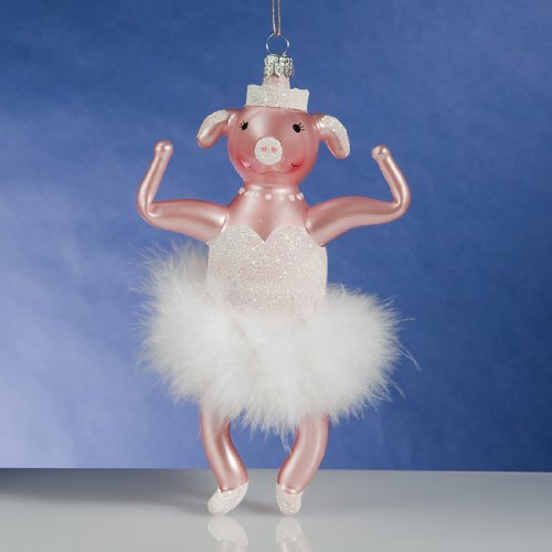 De Carlini Pig Ballerina Italian Mouthblown Glass Christmas Ornament