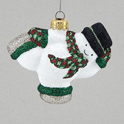 Mattarusky Skating Snowman Glittered Glass Ornament