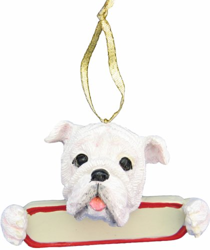 "Bulldog Ornament White ""Santa's Pals"" With Personalized Name Plate A Great Gift For Bulldog Lovers"