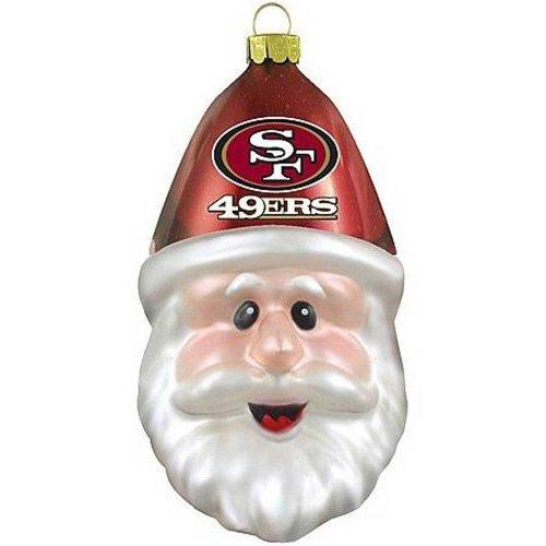 San Francisco 49ers Blown Glass Santa Cap Christmas Tree Ornament