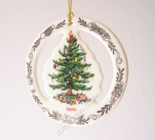 Spode Christmas Tree Ornament See-Thru Tree in Wreath
