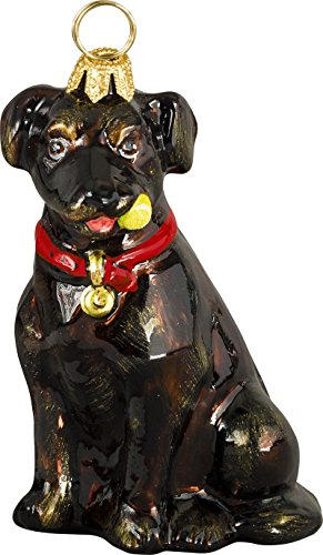 The Pet Set Blown Glass European Dog Ornament By Joy to the World Collectibles – Chocolate Labrador Retriever with Tennis Ball