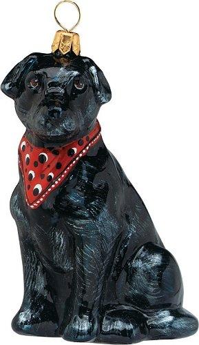 Joy to the World Collectibles European Blown Glass Pet Ornament, Labrador Retriever Black with Bandana