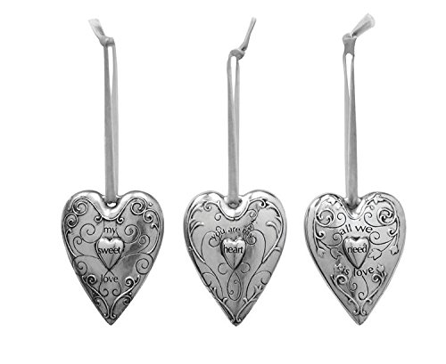 "3½""H Shabby Chic Silver Resin Heart Ornament, Set of 3"