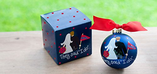 Coton Colors OLE Miss, University of Mississippi (Um) Ornament. Newlywed Fans Will Love This Ole Miss Bride and Groom Ornament. Each Ornament Is Perfectly Packaged with a Matching Gift Box and Coordinating Tied Ribbon for Easy Gift Giving and Safe Storage.