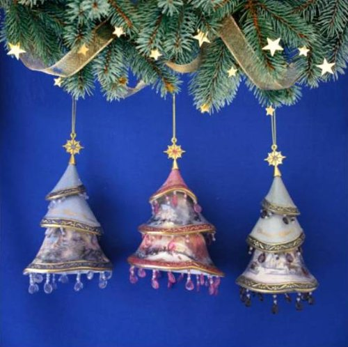 Thomas Kinkade *Christmas Tree Ornaments* SET of 3 From Kinkade's Christmas Classics Ornament Collection