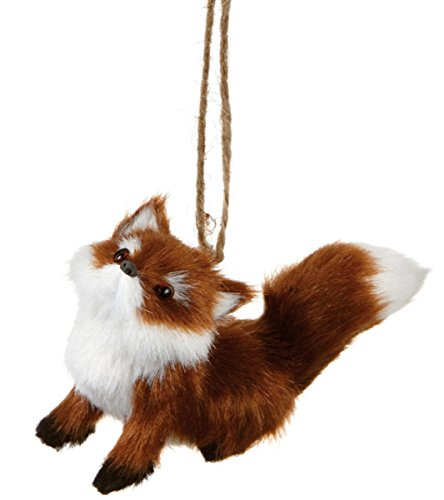 3.5″ Furry Forest Friends Sitting Red Fox Wildlife Christmas Ornament
