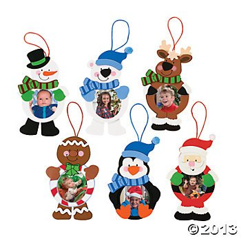 CHRISTMAS CHARACTER PHOTO ORNAMENT CRAFT KIT/1 DOZEN/6 1/2 INCHES TALL
