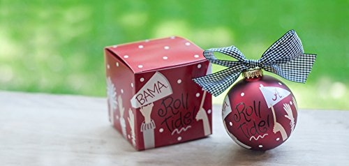 """Coton Colors University of Alabama Crowd Cheer Ornament. Go Team, Go! Kick Off the Season with the Cheer-raising University of Alabama Crowd Cheer Ornament! Designed with Fan-tastic """"Roll Tide!"""" Writing and Cheering Fan-atics, It's a High-scoring Way to Celebrate Gameday, Holiday or Everyday. All Collegiate Ornaments Come Boxed and Tied with a Coordinating Ribbon Making Them the Perfect Gift for Anyone."""