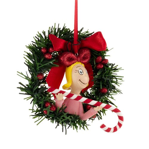 Department 56 Grinch Cindy Lou Sisal Wreath Ornament, 4.5-Inch