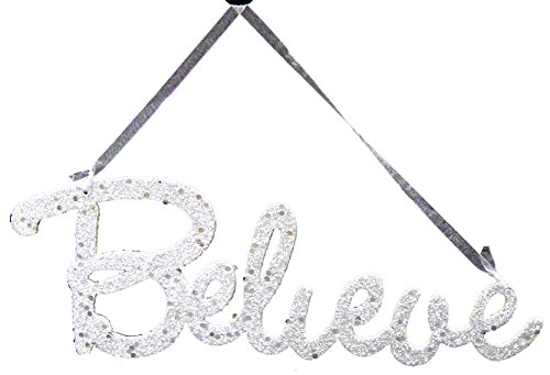 Christmas Decoration Plastic Ornament Believe Word Sign with Ribbon