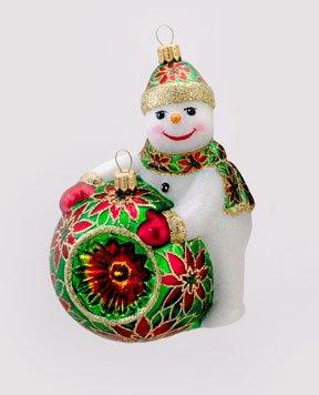 David Strand Designs Glass Deck the Halls Poinsettias Snowman Christmas Ornament