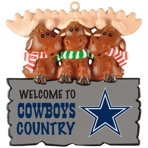"Dallas Cowboys NFL ""Welcome to Cowboys Country"" Hanging Moose Ornament (Appx 3.5″)"