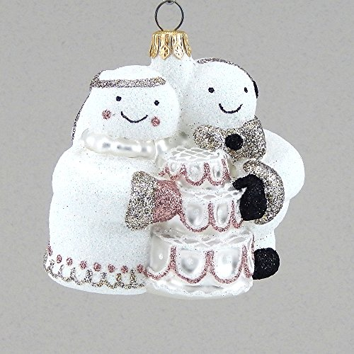 Mattarusky Family Wedding Day Glittered Glass Ornament