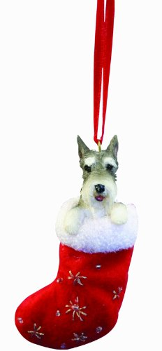 """Schnauzer Christmas Stocking Ornament with """"Santa's Little Pals"""" Hand Painted and Stitched Detail"""