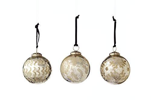 Sage & Co. XAO14685GD Etched Glass Ball Ornament Assortment