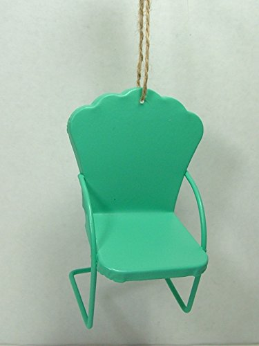 Green Metal Mid Century Lawn Chair Lounge Modern Furniture Christmas Ornament