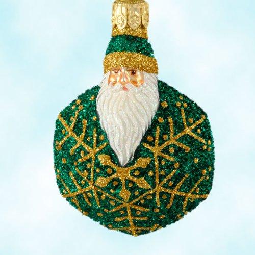 Patricia Breen Christmas Ornaments, Snowflake Noel Santa, 2002, 2257, Santa as Green and gold snowflake