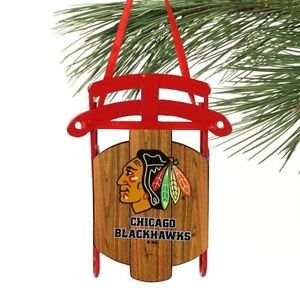 Chicago Blackhawks Metal Sled Ornament