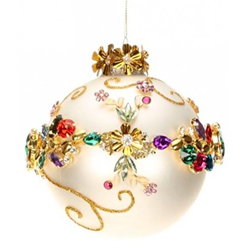 Mark Roberts Multi Jewel Banded Ornament Pearl White 5 Inch Diameter