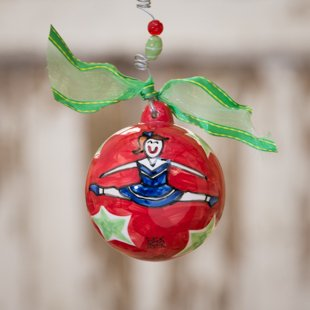 Glory Haus Cheerleading Ball Ornament. Everyone on the Squad Needs This Adorable Cheerleading Porcelain Ball Christmas Ornament! The Girls Will Cheer When They Receive This Ornament As a Gift!