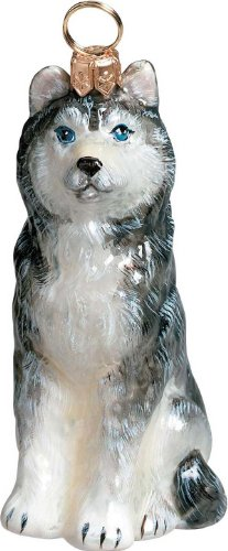 The Pet Set Blown Glass European Dog Ornament by Joy to the World Collectibles – Siberian Husky Dog