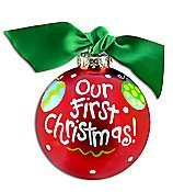 Coton Colors Wedding Painted Christmas Ornaments, the 100mm Round Glass Our First Christmas Ornament Is Designed with Colorful Ornaments.
