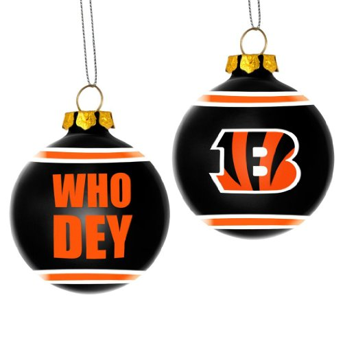 Cincinnati Bengals Official NFL 3′ Glass Ball Christmas Ornament by Forever Collectibles