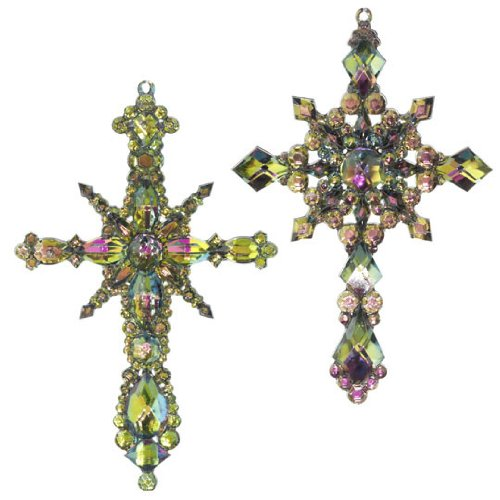 RAZ Imports – Multicolored Peacock Cross Ornaments