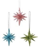 BETHANY LOWE Pastel Glitter Moravian Star Ornaments – Set of 6