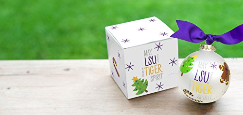 Coton Colors LSU Joy & Spirit Ornament. Featuring Iconic Images of Christmas in Purple and Gold, Let This Ornament Fill Holidays with Much Tiger Joy & Spirit. Perfect for Festive Fans of All Ages Who Love Celebrating College Colors During the Holidays or Every Day. Adorned with Ribbon. Comes Packaged in a Coordinating Gift Box for Perfect Present Presentation.