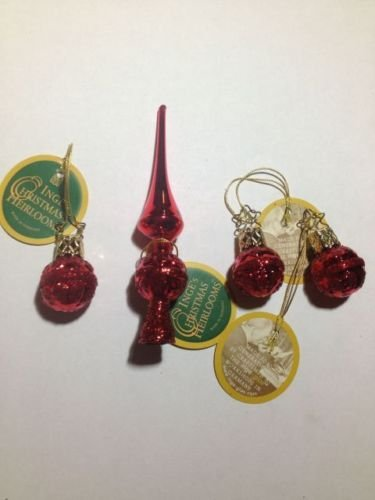 Set of Three Mini Red Balls & One Tree Topper #1-673-01 by Inge-Glas of Germany – Christmas Tree Ornament