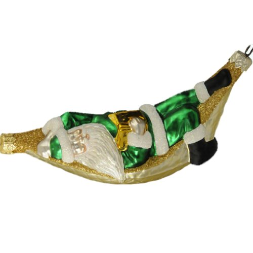 Patricia Breen Christmas Ornaments, A Respite for Santa, Green, 1997, 9733, Sleeps with book in hammock; glittered squares