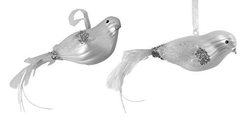 Silvestri Satin White Glass Bird Ornament 2-Pack