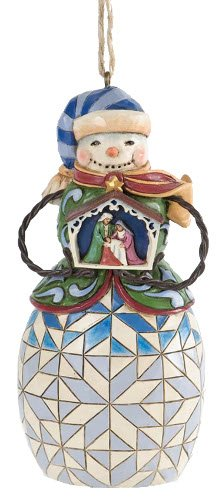 Jim Shore for Enesco Heartwood Creek Snowman with Nativity Ornament, 4.5-Inch