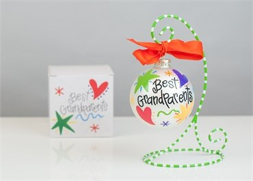 Coton Colors Painted Christmas Ornaments. The 100mm Round Glass Best Grandparents Ornament Is Designed with Colorful Stars, Vibrant Hearts and Features Artistic Writing on the Front.