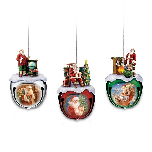 Dona Gelsinger's Santa Sleigh Bells Ornaments Set One: Set Of Three by The Bradford Exchange