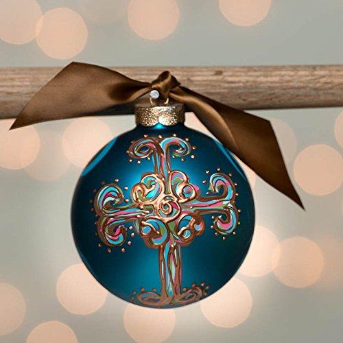 Blue Curly Cross Glass Ball Ornament