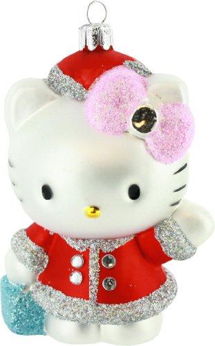 Kurt Adler HK0131 Glass Hello Kitty Ornament, Red, 5-Inch