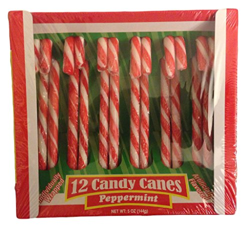 Pack of 12 HOLLY Peppermint Flavored Candy Canes -PERFECT FOR CHRISTMAS!