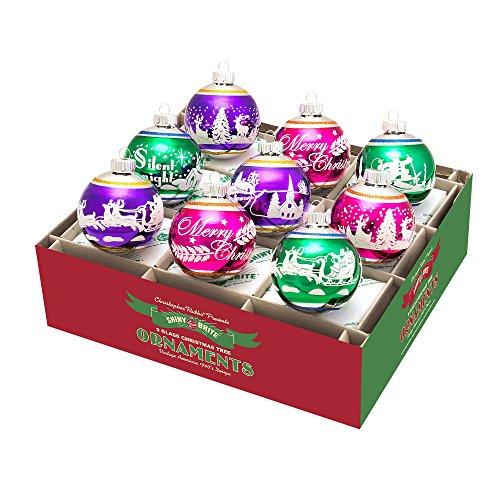 RADKO Shiny Brite Christmas Carnival Signature Flocked Ornaments