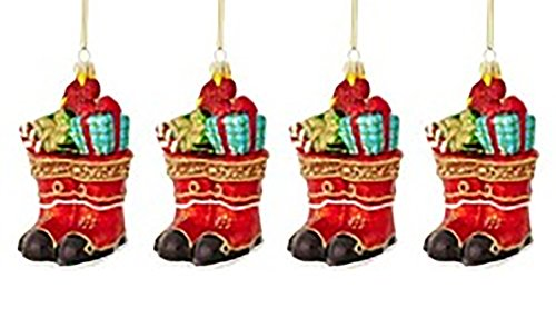 Marthaholiday Night Before Christmas Set of 4 Boots with Gifts Christmas Ornaments