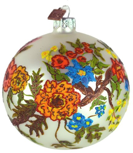 Eric Cortina Vintage Floral Ball Ornament – White
