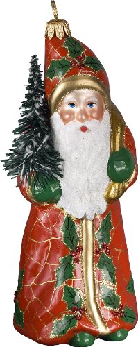 Ino Schaller Blown Glass Polish Red Crackle Santa Ornament by Joy to the World Collectibles