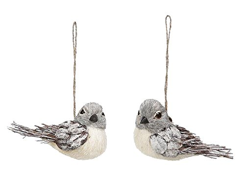 Natural Winter Bird Ornaments, 6″ Long, 2 Styles
