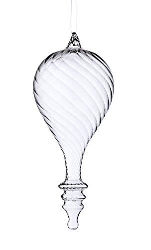 Sage & Co. XAO16731CL 8″ Glass Swirl Teardrop Ornament